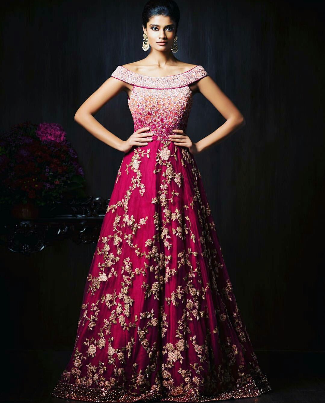 Gorgeous new indian reception gown styles for indian brides for Indian wedding dresses online india
