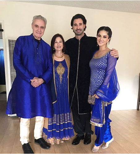 Colour Coordinated Sunny Leone At Brothers Wedding