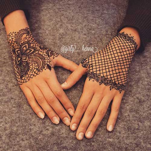 Trending minimal new bridal mehndi design ideas for this for Lace glove tattoo